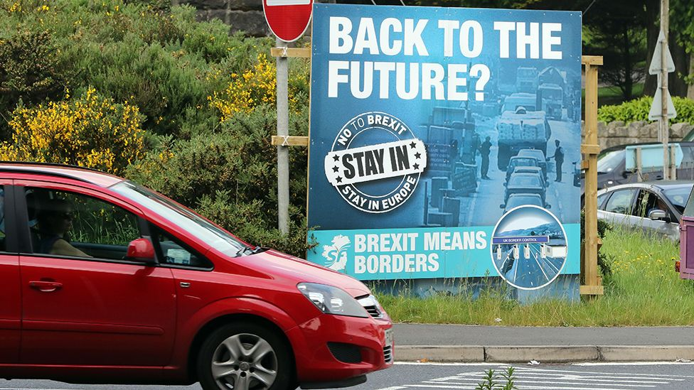 """A """"No To Brexit"""" sign is pictured on the outskirts of Newry in Northern Ireland on June 7, 2016"""