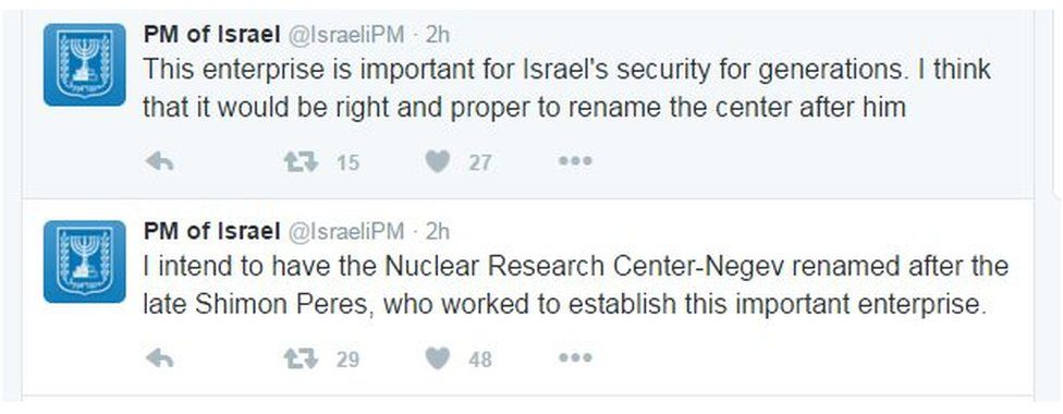 """Tweets from the Israel Prime Ministers office read: """"I intend to have the nuclear research center-Negev renamed after the late Shimon Peres, who worked to establish this important enterprise"""" and """"This enterprise is important for Israel's security for generations. I think that it would be right and proper to rename the center after him."""""""
