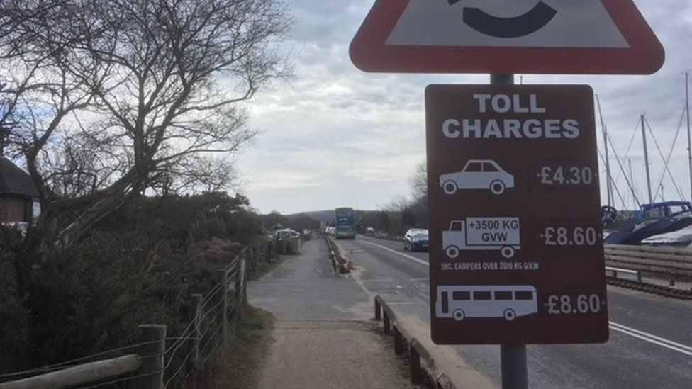Toll charges sign at Sandbanks Ferry