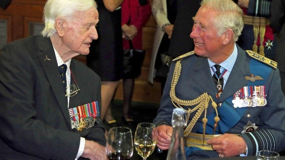 """The Prince of Wales and Tom """"Ginger"""" Neil, who has died aged 97"""