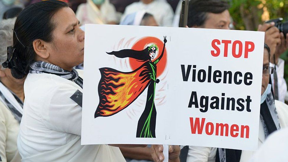 Women attend a protest in Ahmedabad on March 20, 2015, in the wake of the gang-rape on an elderly nun.