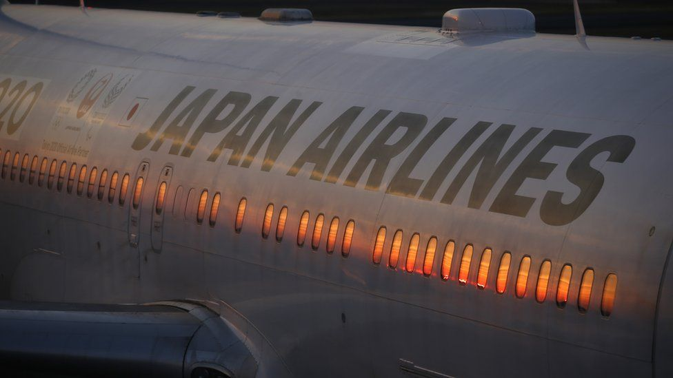 JAL's airplane is seen at Haneda Airport in Tokyo, Japan Feburuary 9, 2018.