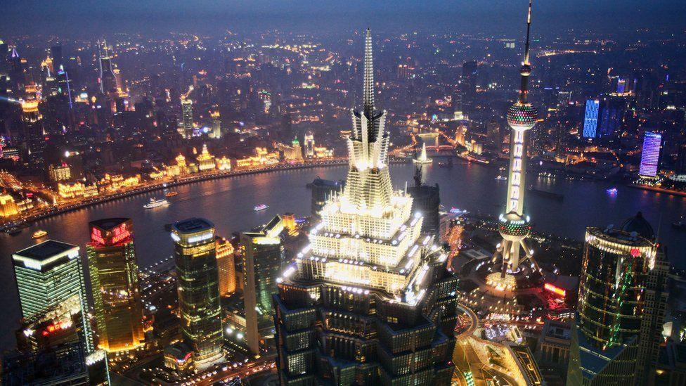 Aerial view of Shanghai's business district.