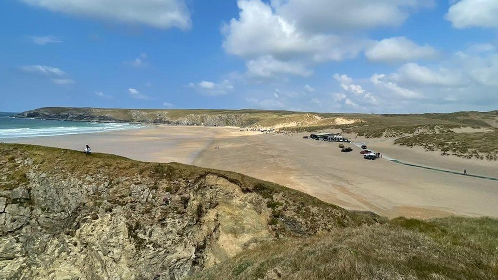 Filming at Holywell Bay
