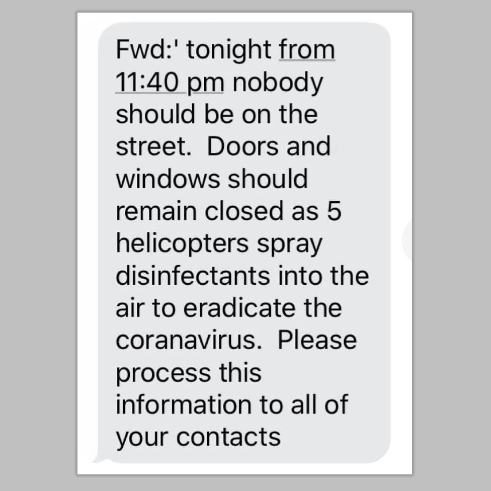 False imessage about helicopters