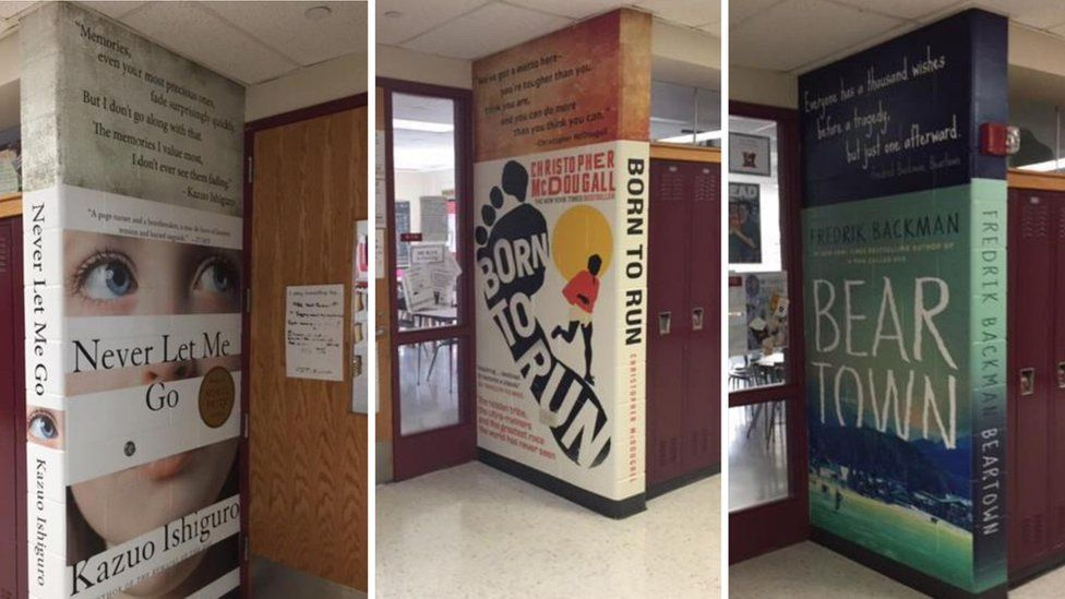 Photograph showing two murals in the corridor of Mundelein High School