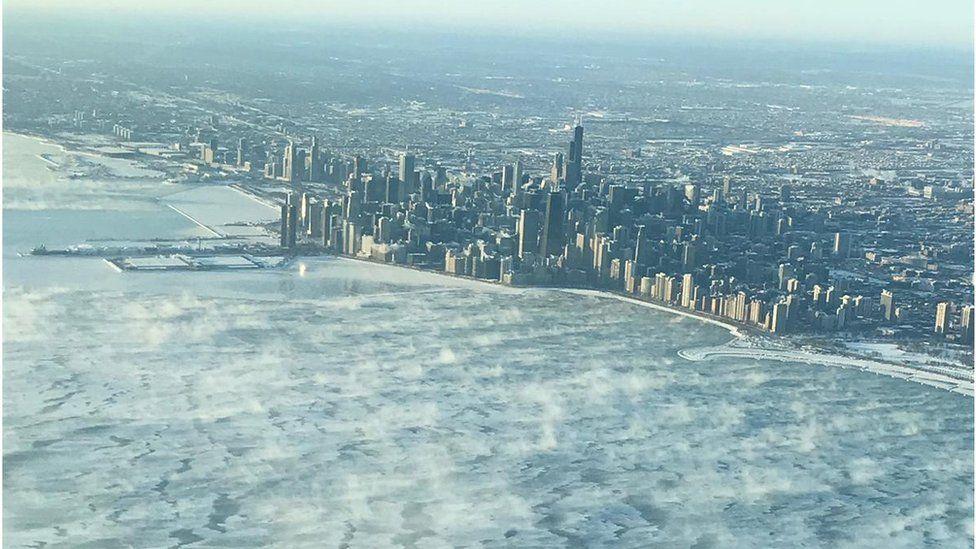 Chicago skyline frozen
