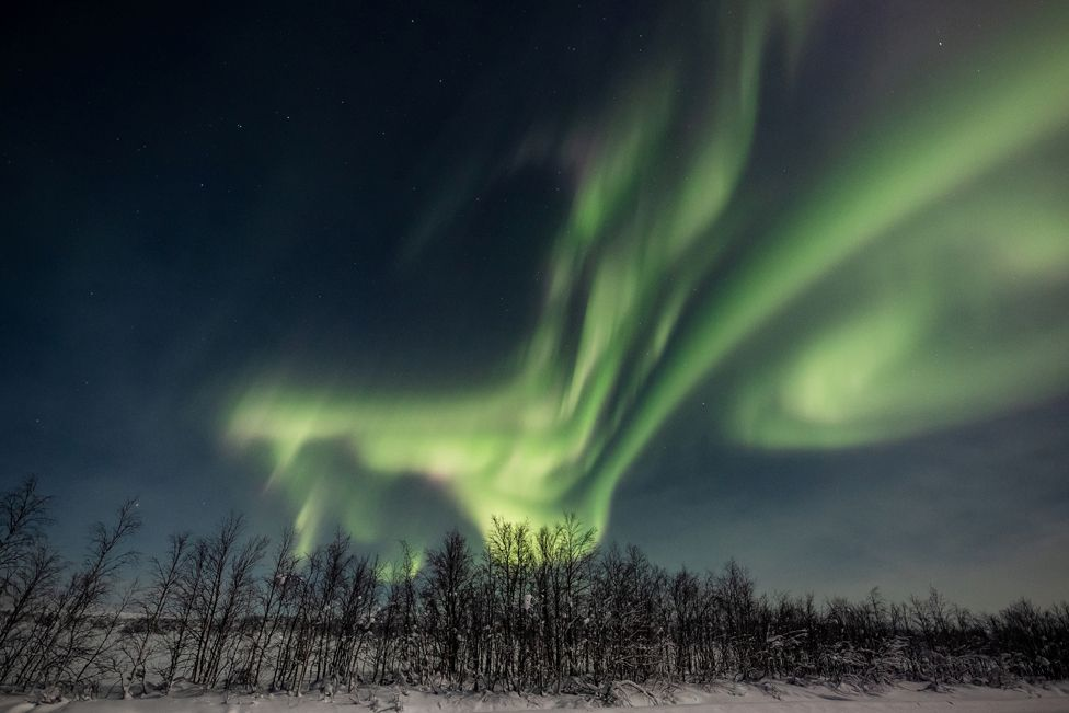 The Aurora Borealis is seen in the sky over Enontekio in Lapland, Finland, on 25 January 2021