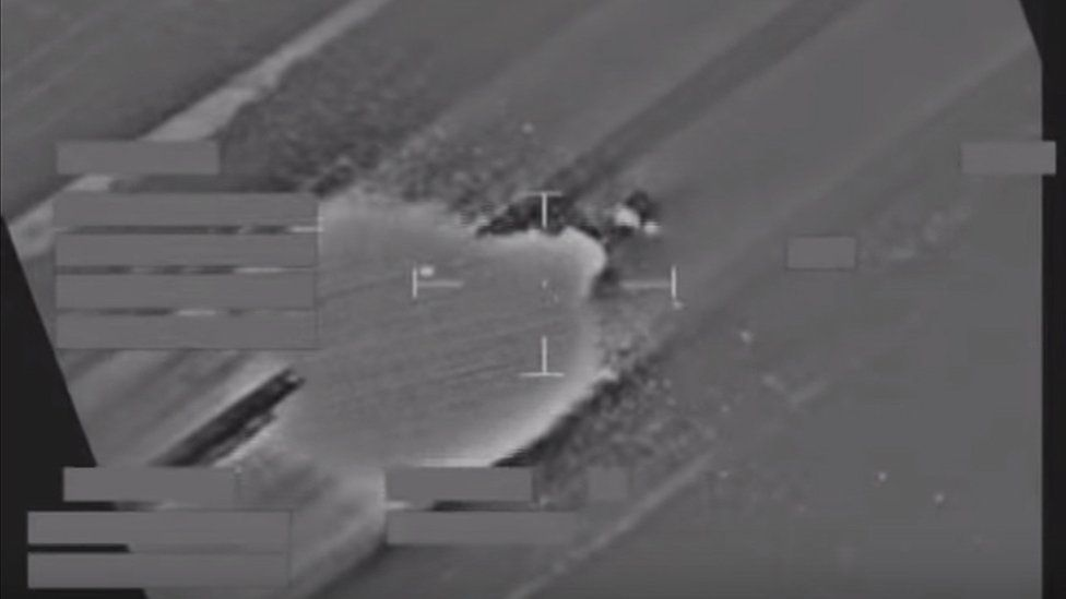 RAF Tornado strike on an IS vehicle west of Mosul Iraq, on 13 April 2016