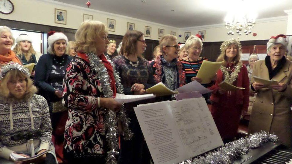 Christmas singing with a Sing Your Heart Out group