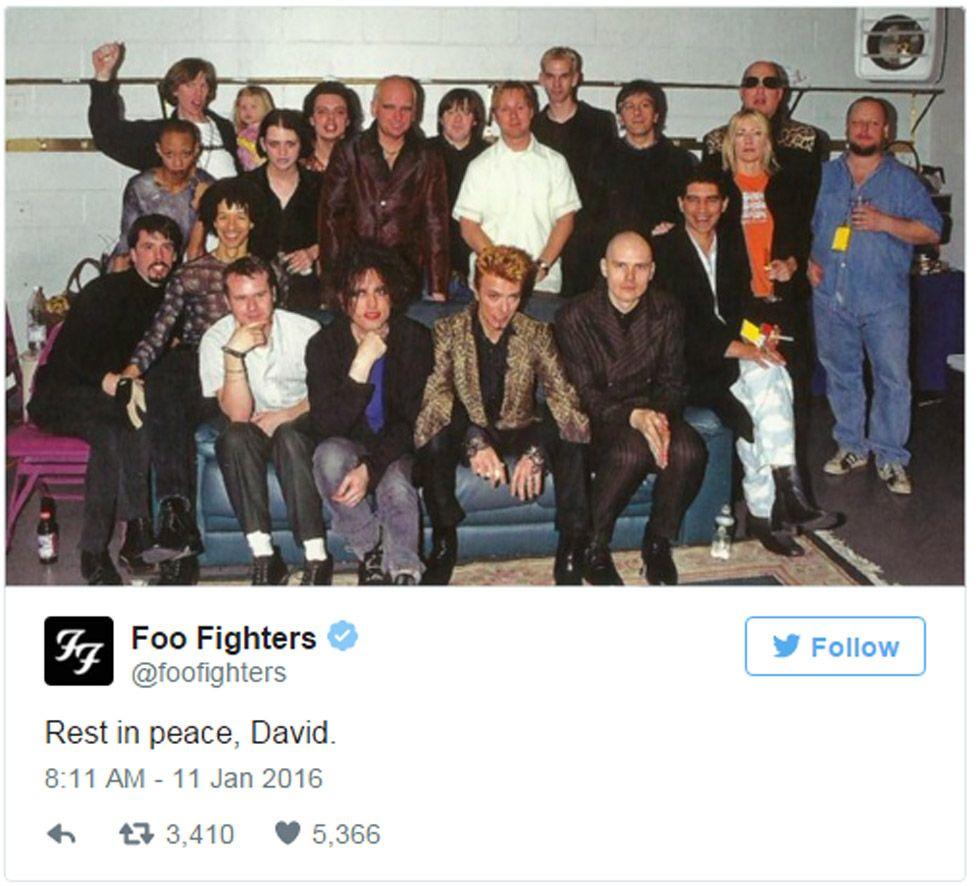 Foo Fighters tweet: Rest in peace, David.