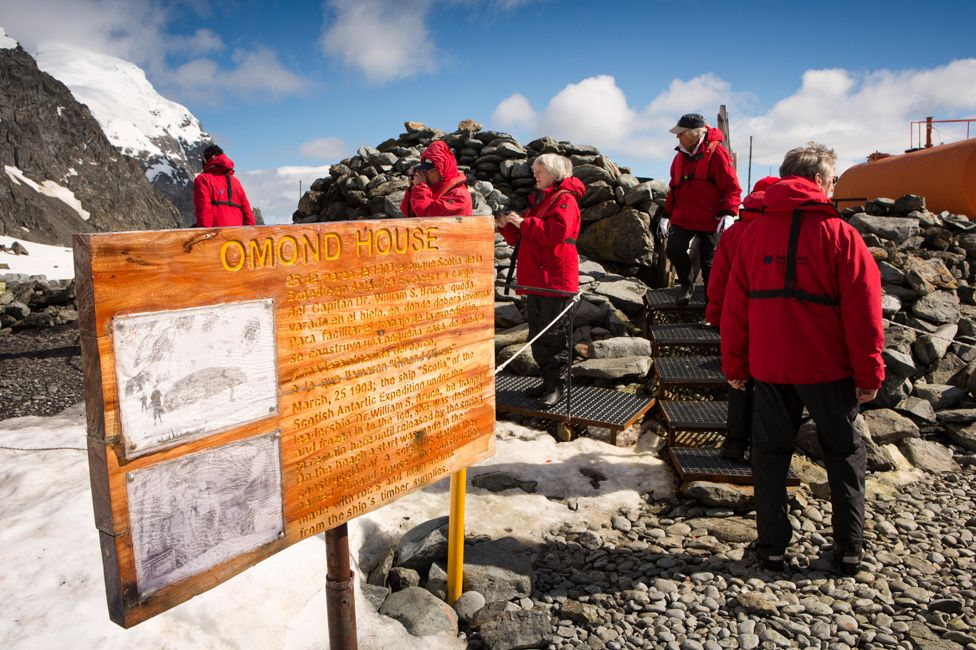 Scientists visit Omond House, Antarctica