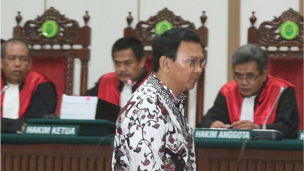 """""""Ahok"""" in court, with judges behind, in Jakarta, Indonesia, on 13 February 2017."""