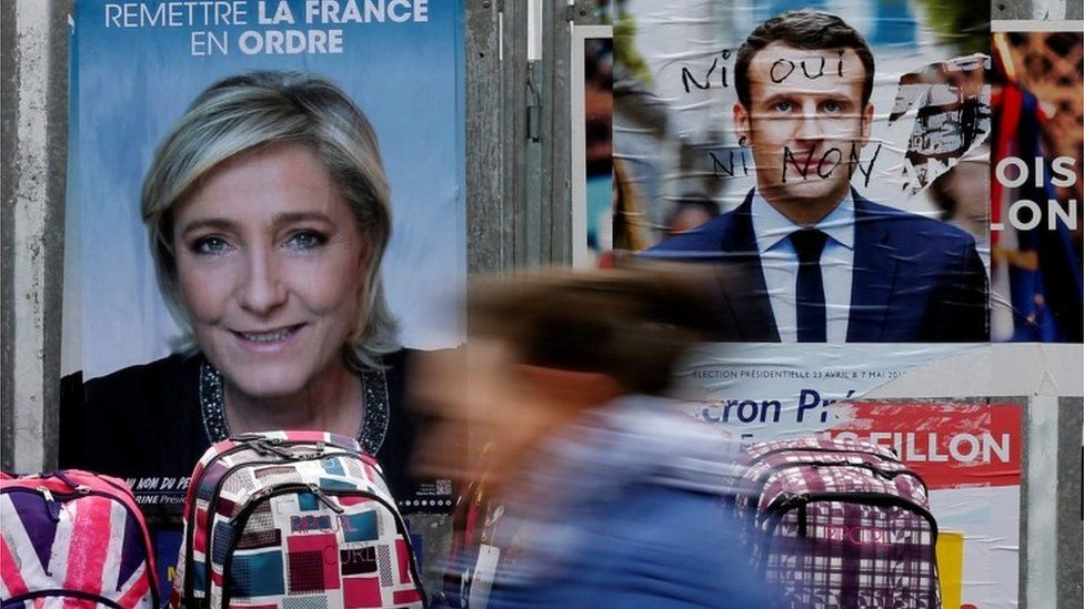 Campaign posters for Marine Le Pen and Emmanuel Macron
