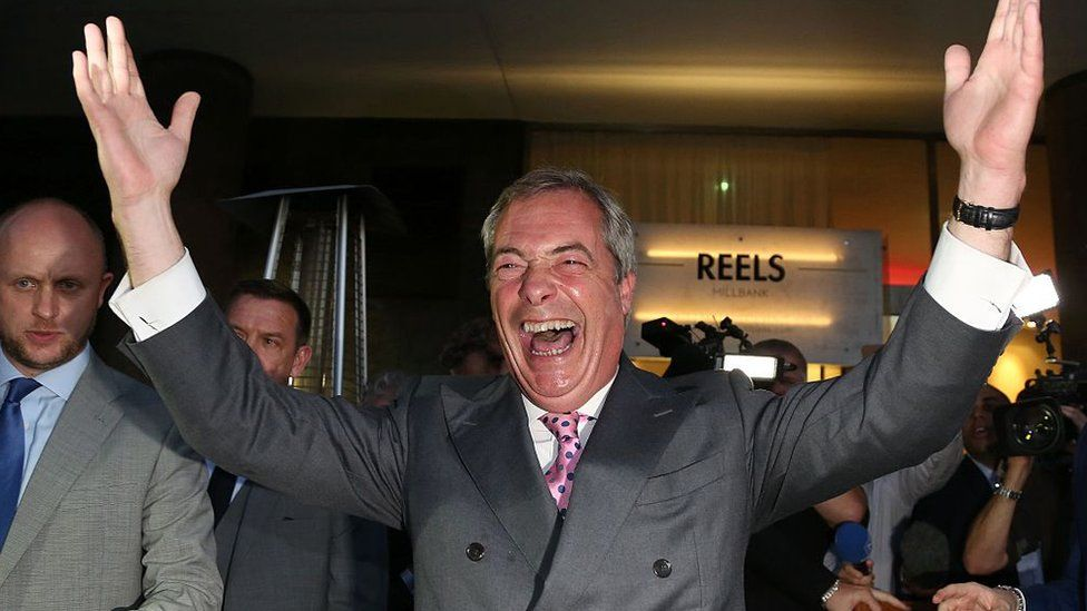 Leader of the United Kingdom Independence Party (UKIP), Nigel Farage reacts to the UK's Brexit vote; 24 June 2016