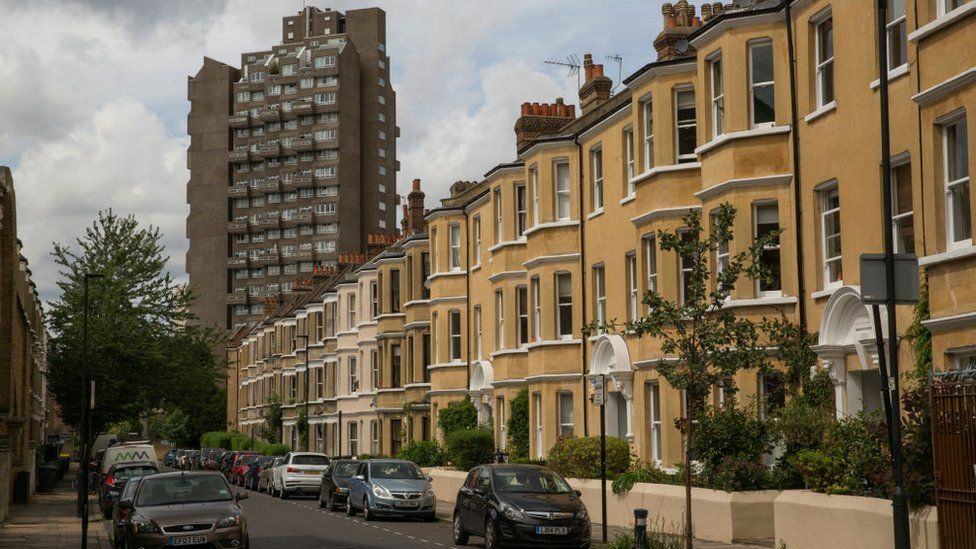Tower block and houses in London