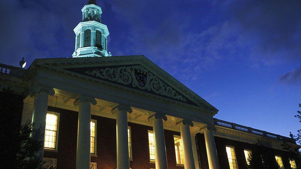 Harvard at night
