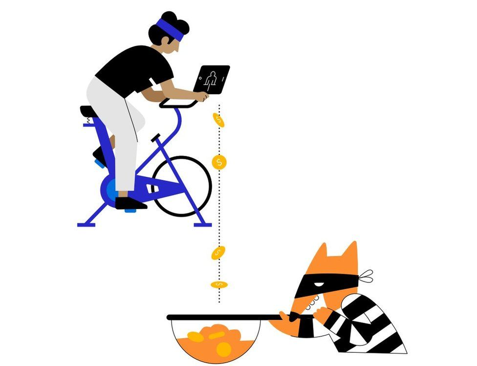 A cartoon fox, wearing a bandana and black-and-white-striped prisoner clothing, giggles to itself as it catches money from a human on a smart exercise bike