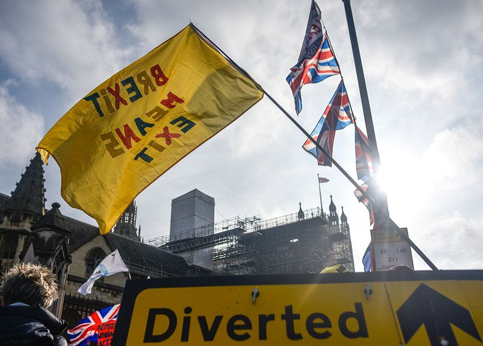 Flags and protests at Westminster