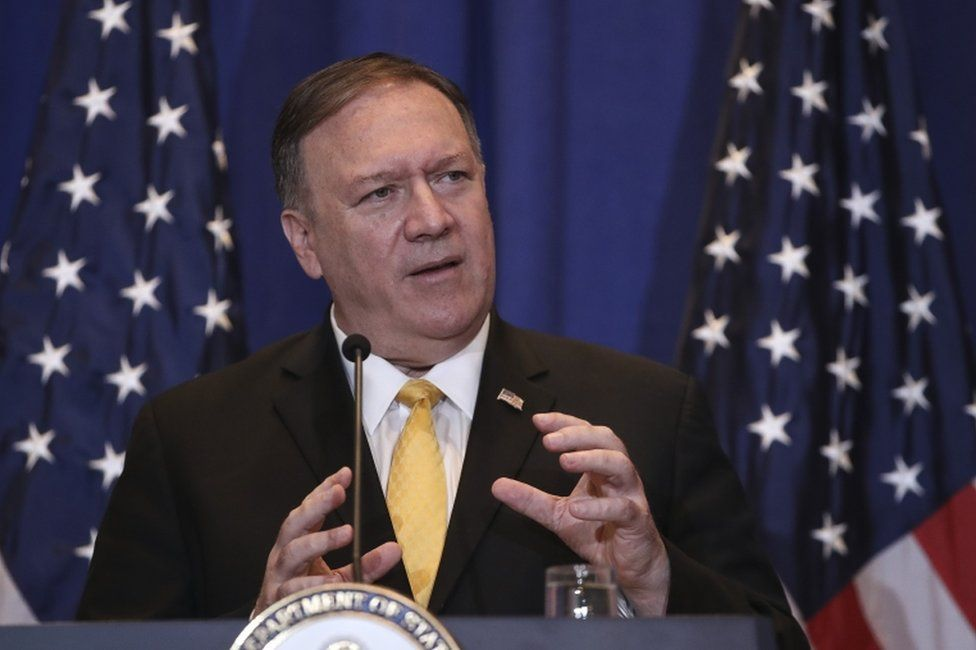 US Secretary of State Mike Pompeo speaks during a press conference on the sidelines of annual UN General Assembly in New York on 26 September 2019.