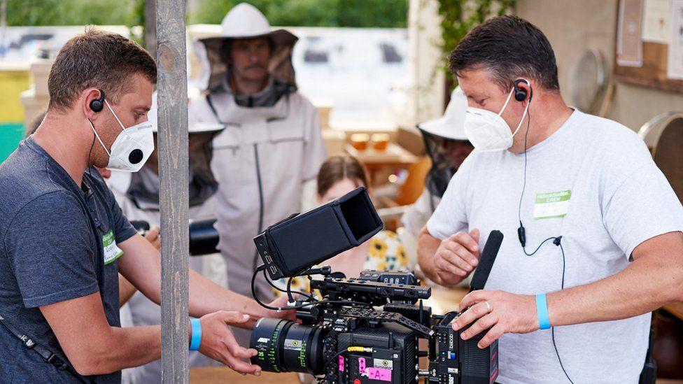 A film crew on location