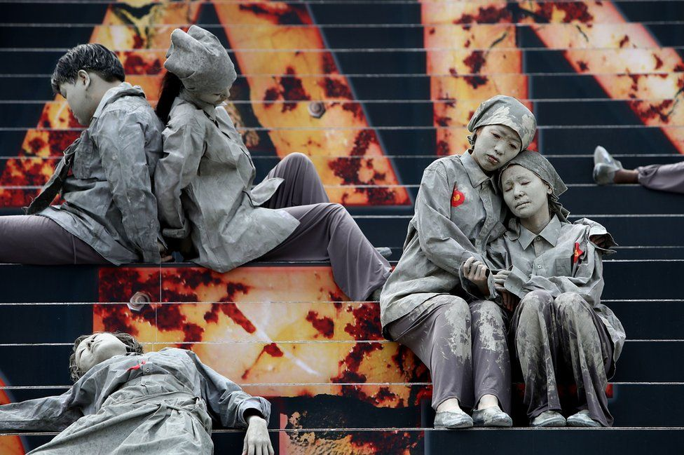 South Koreans perform to commemorate the 70th anniversary of the Jeju uprising.