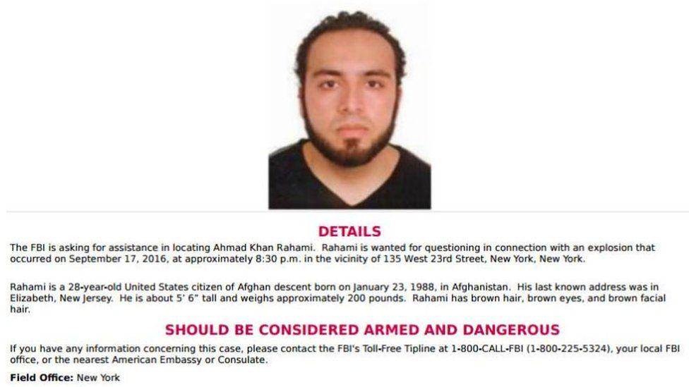 FBI poster on Ahmad Khan Rahami