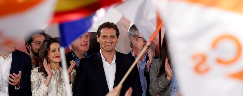 Albert Rivera (C), and his team celebrate the results of the general elections at the party headquarters in Madrid, Spain (28 April)