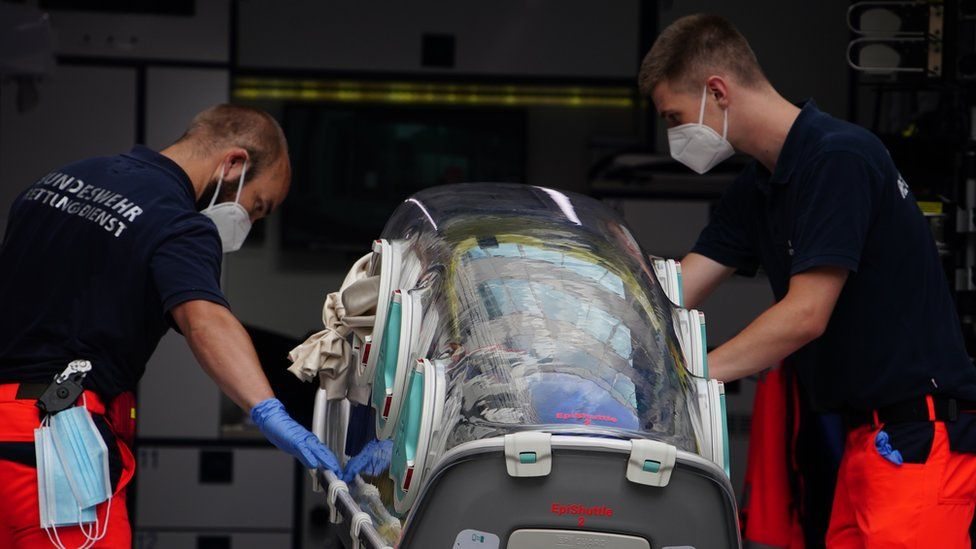 German Bundeswehr paramedics at the clinic after Russian opposition activist Alexei Navalny arrived at Charite clinic in Berlin, Germany