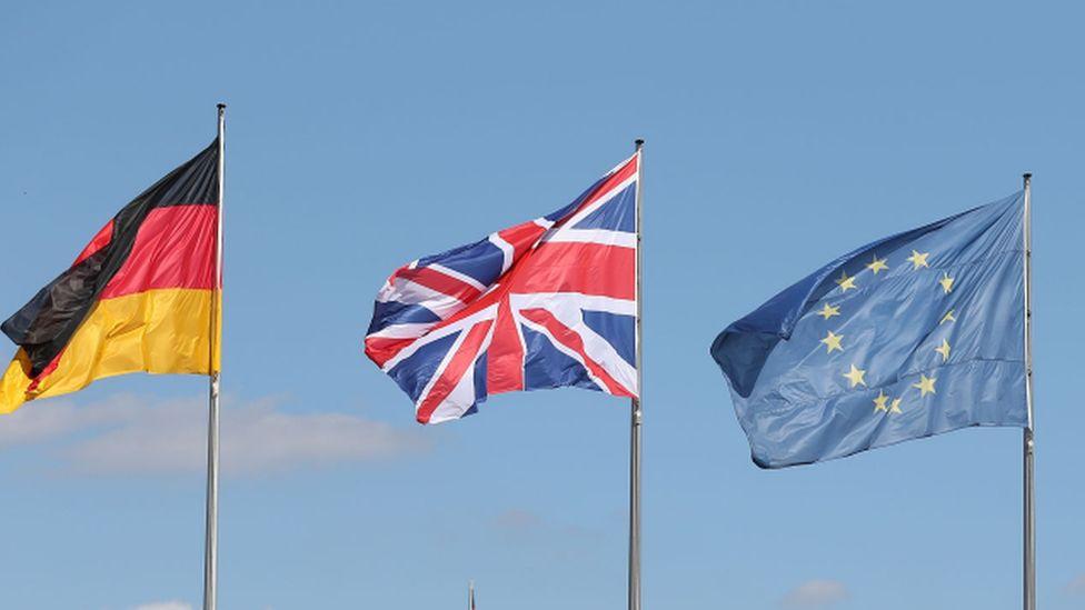 German, British and EU flags