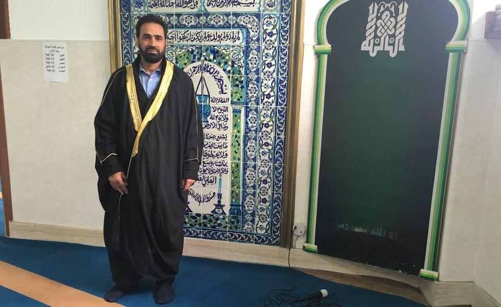Imam Sami Salem, in his mosque in Rome