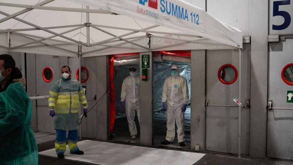 A temporary hospital in the Ifema exhibition centre in Madrid opened to patients last week