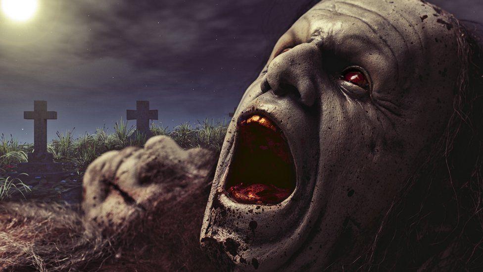 Голова мертвеца, вылезающего из могилы