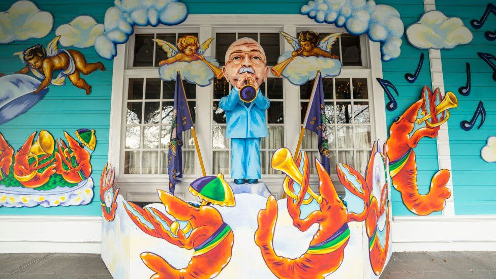 View of restaurant Commander's Palace decorated in honor of former New Orleans resident and jazz clarinetist Pete Fountain on January 24, 2021 in New Orleans, Louisiana
