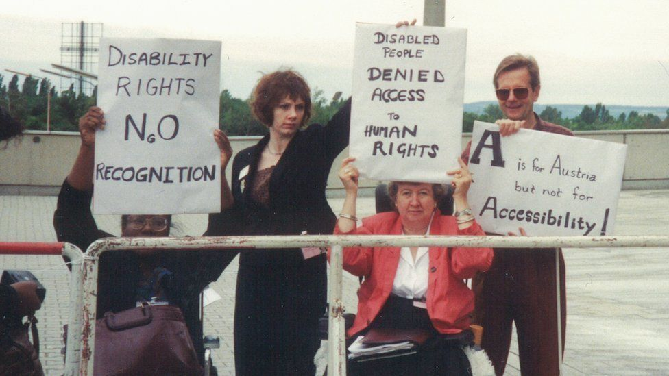 Agnes with other disability campaigners during a protest