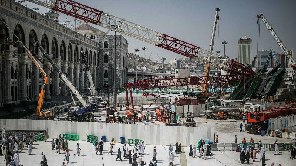 Scene of crane collapse in Mecca. 15 Sept 2015