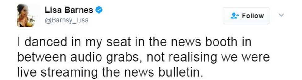 """A tweet by Lisa Barnes says: """"I danced in my seat in the news booth between audio grabs. not realising we were live streaming the news bulletin"""""""