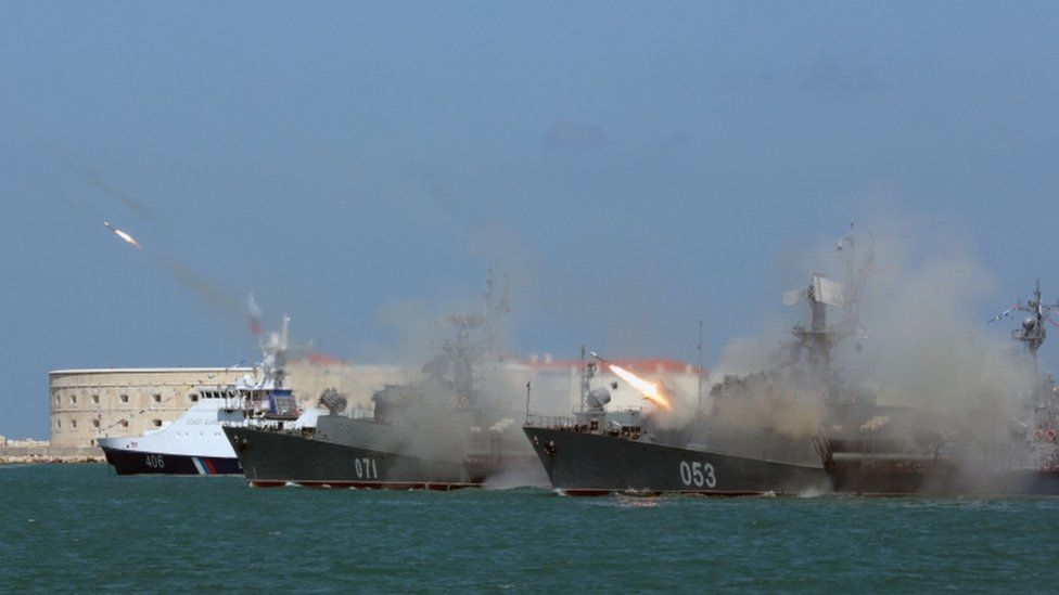 Russian frigates fire missiles on Navy Day at Sevastopol in the annexed Crimea