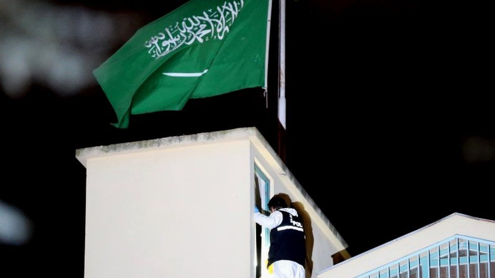 Turkish officers search the Saudi consulate in Istanbul
