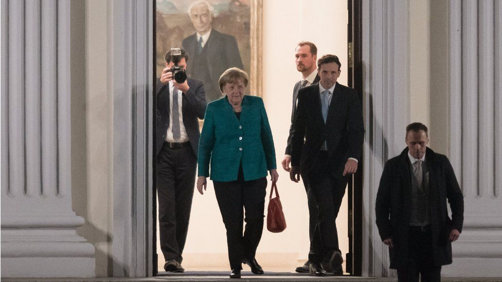 Mrs Merkel leaves after talks on Thursday