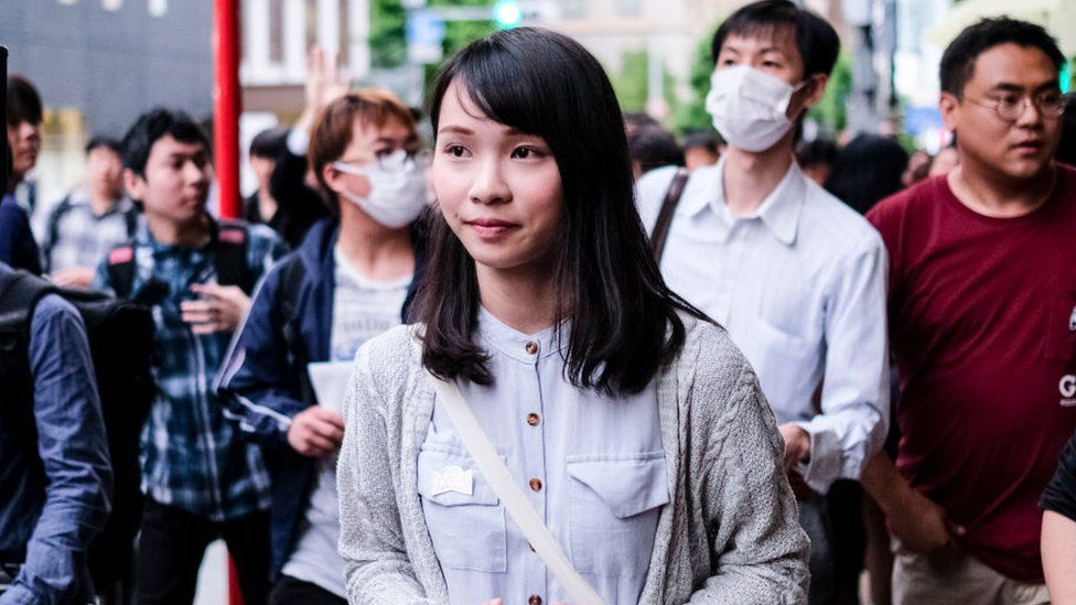 Hong Kong Activist Agnes Chow is seen at Meiji University on June 12, 2019 in Tokyo,