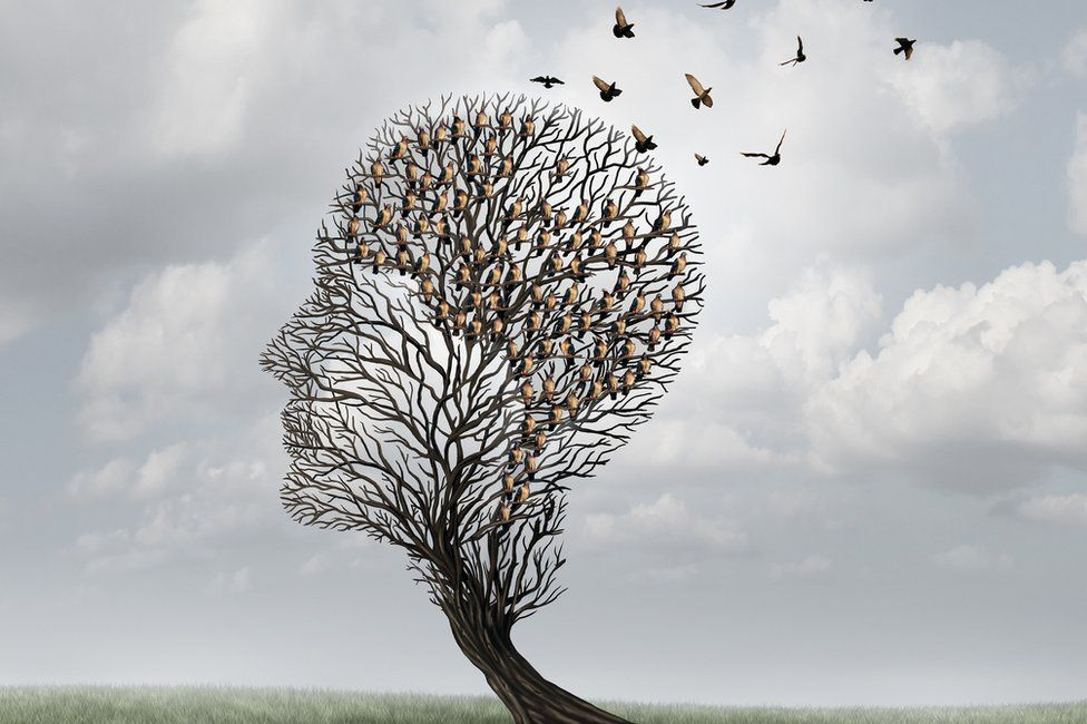 Memory loss concept of head-shaped tree with birds flying out of it
