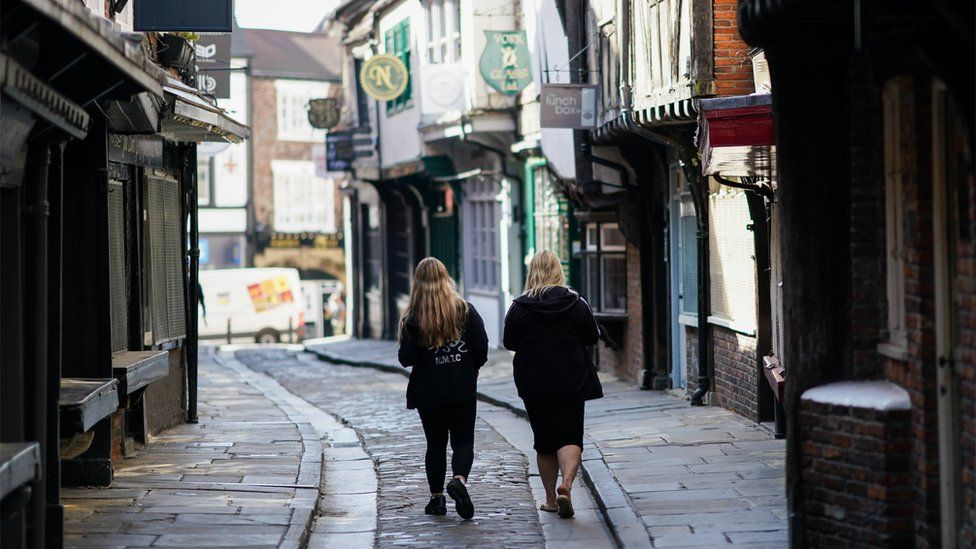 Two people walking down the Shambles