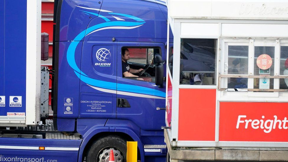 Trucks arrive at the Holyhead ferry terminal on January 01