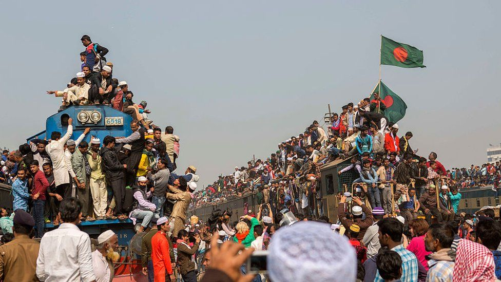 Devotees hoping to get back home from the Ijtema after Akheri Monazat (the final prayer) crowd the station, the platforms, some riding in and some on a train. The Bishwa Ijtema or World Congregation is an annual Tablighi Jamaat Islamic congregation held in Tongi by the Turag River