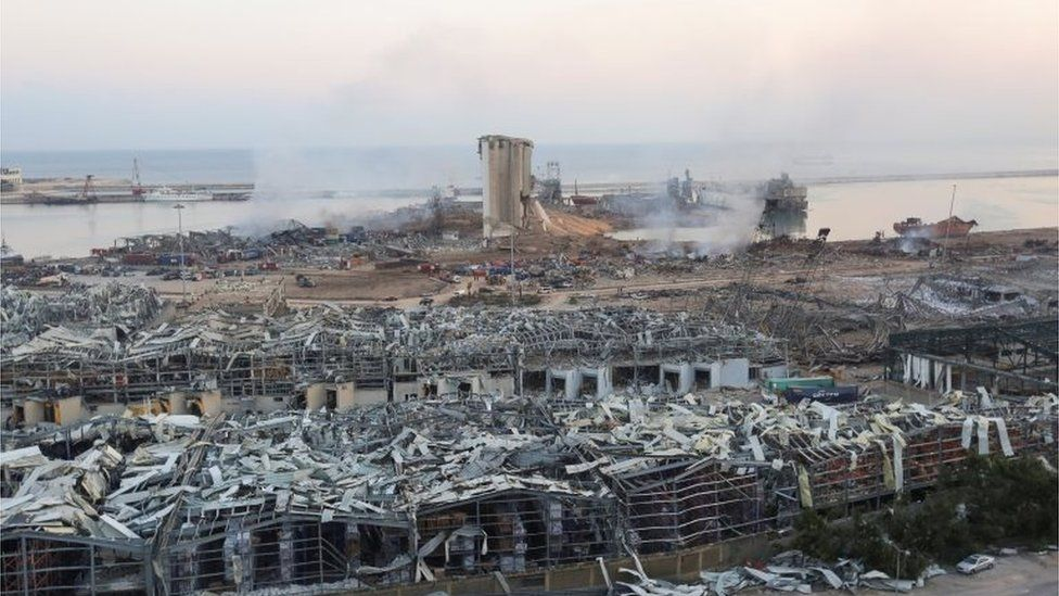 A general view shows the aftermath at the site of Tuesday's blast in Beirut's port area, Lebanon August 5, 2020.