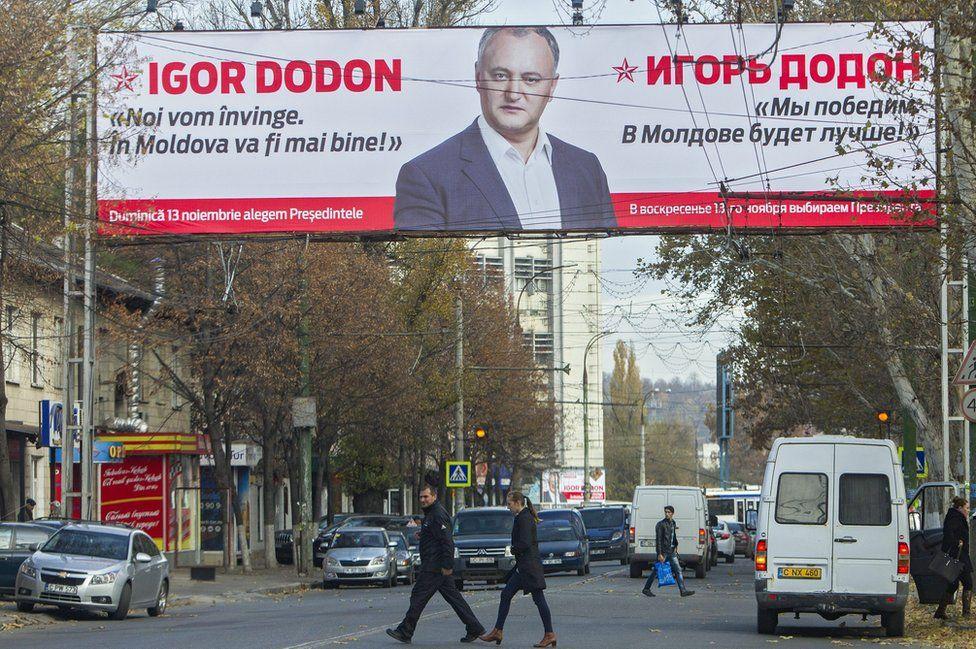 Igor Dodon poster in Chisinau, 7 Nov 16