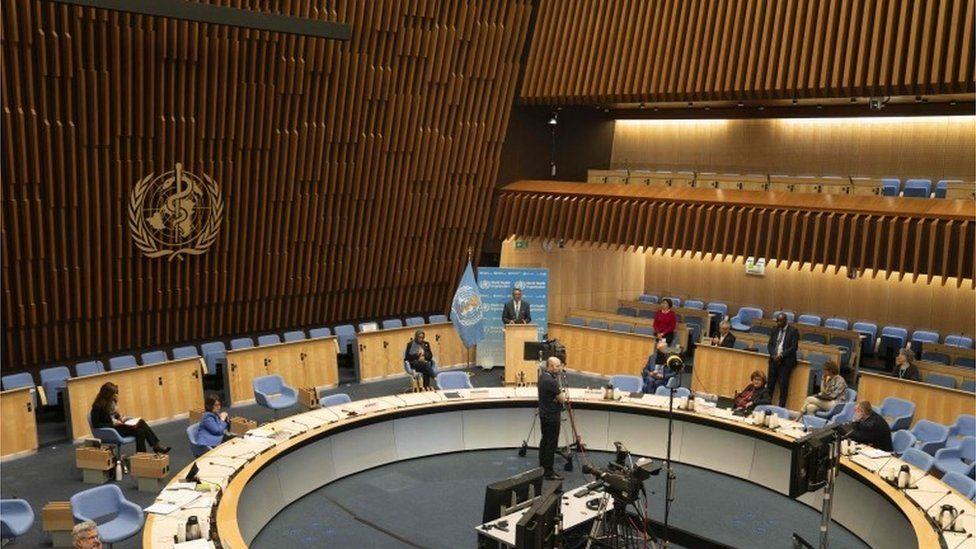 World Health Assembly meeting in Geneva, 18 May 2020