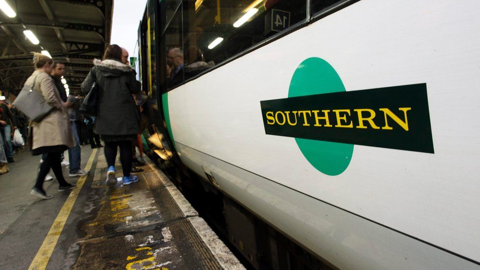 People boarding a Southern train