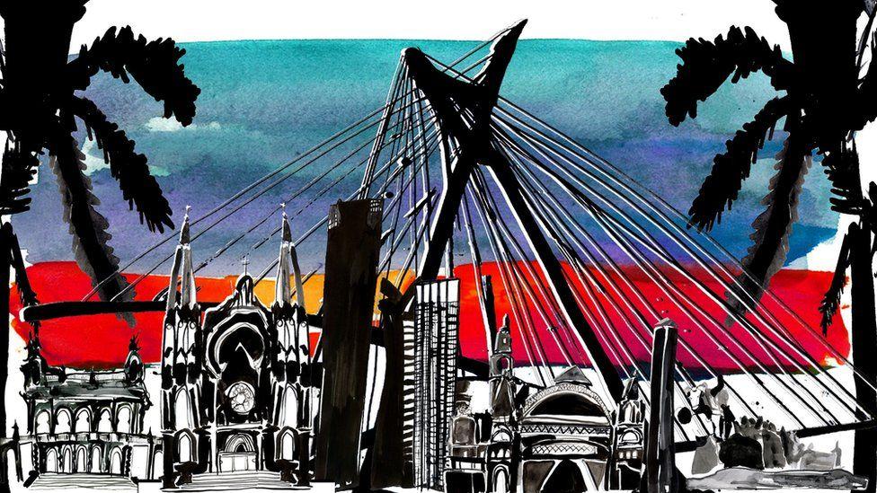 Illustration depicting landmarks of Sao Paulo